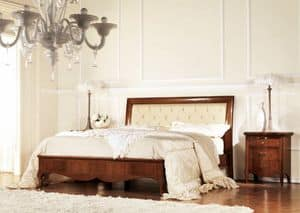 Olympia quilted bed, Quilted bed in wood, with frame inlaid