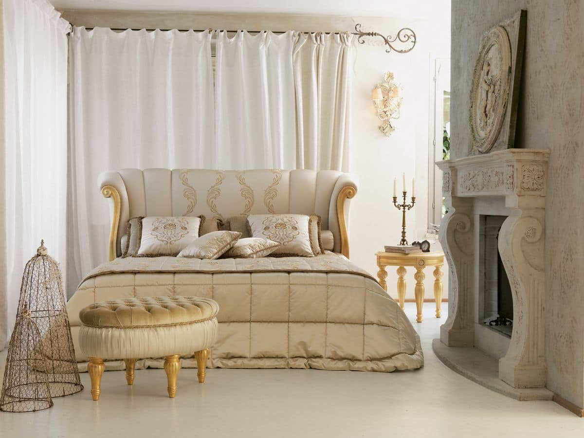 Luxury Classic Bed Carving With Gold Leaf Finish Idfdesign