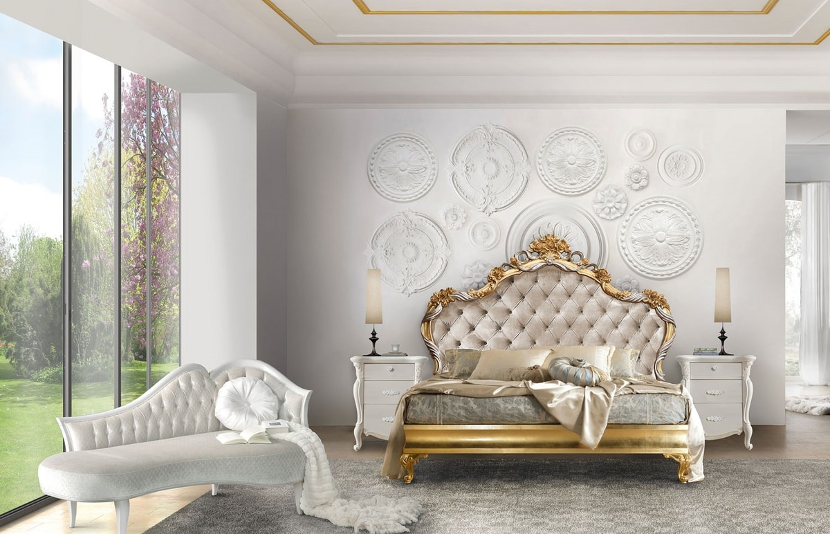Chopin Art. 7503_7504, Bed with carved headboard