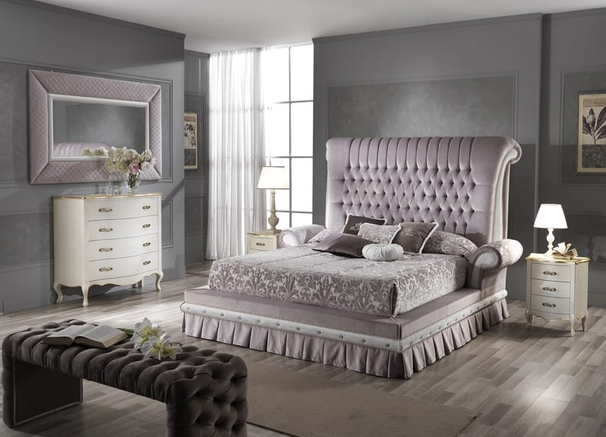QUEEN bed, Double bed with padded headboard
