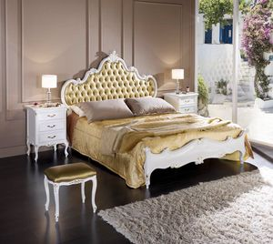 Regency bed, Wooden bed, with upholstered headboard