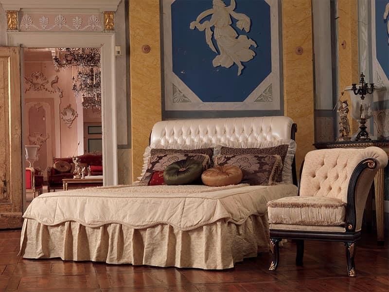 Rembrant bed, Wooden bed, hand carved, gold leaf decorations