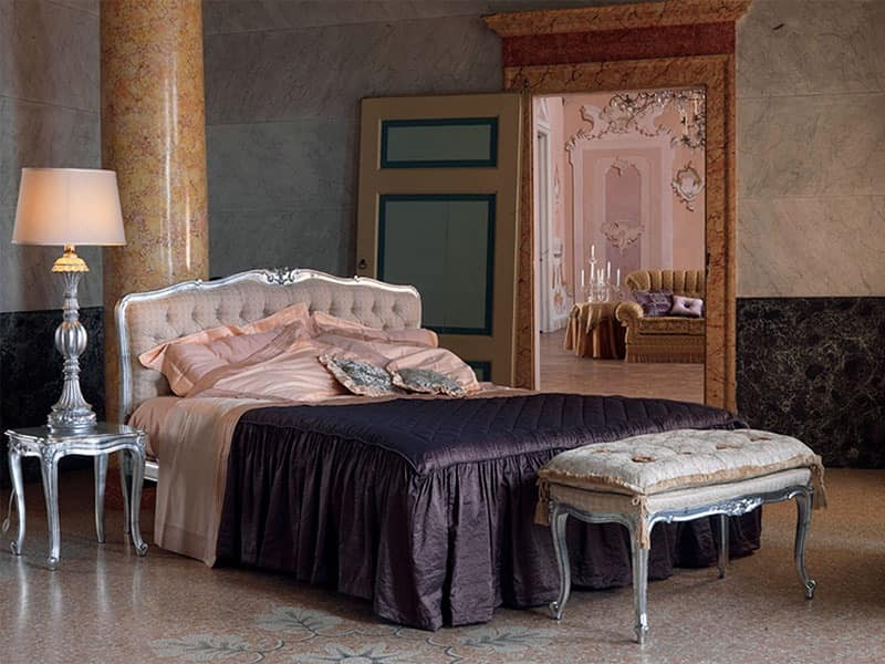 Renoir bed, Bed in classic style, silver finish, for hotels