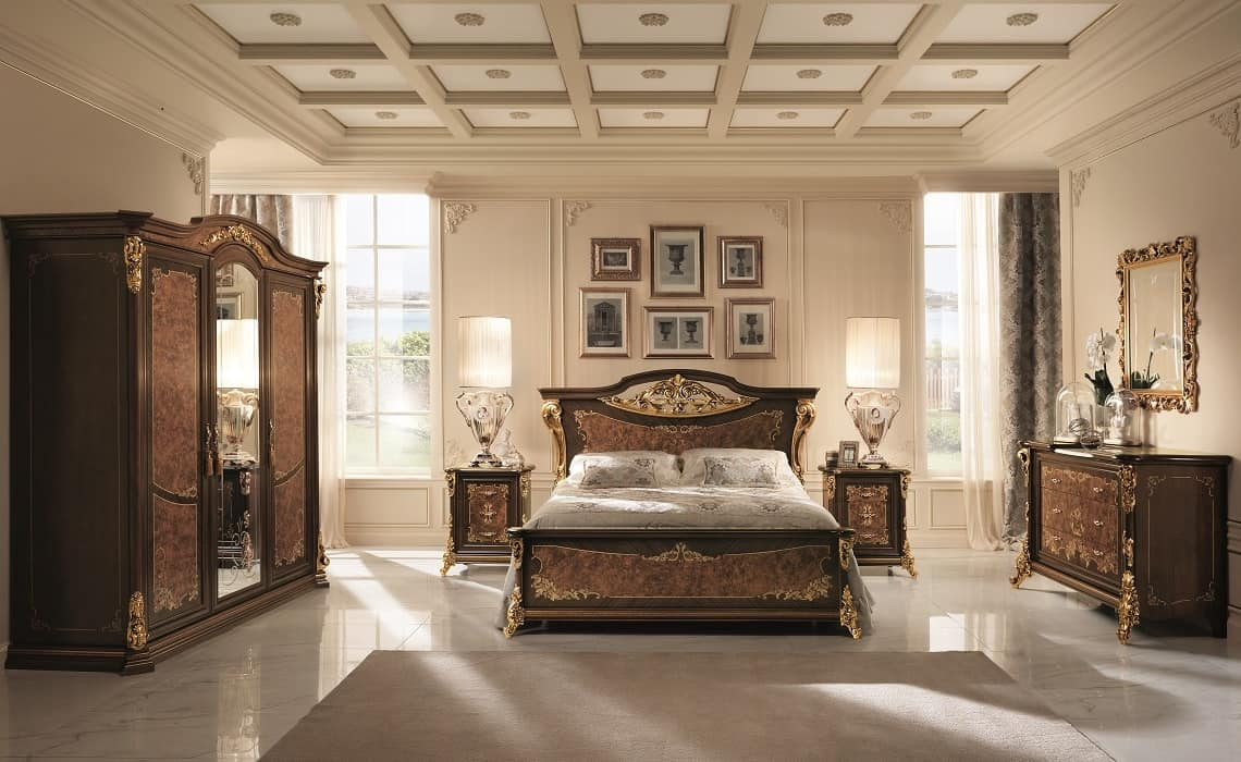 Sinfonia bed, Solid wood bed, with silk-screened surfaces