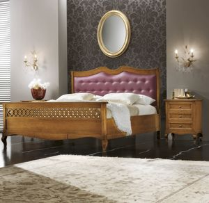 Traforo padded bed, Bed with upholstered headboard