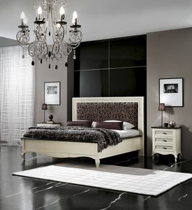 Vienna padded bed, Lacquered bed with upholstered headboard