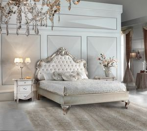 Vivaldi Art. 503 - 504, Classic style bed with silver finish
