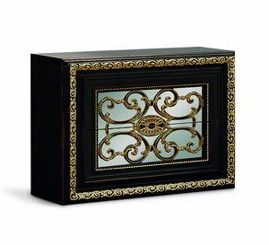 4076, Elegant black lacquered bedside table