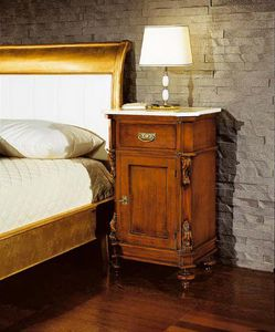 80-16 nightstand, Bedside table with marble top