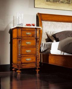 80-19 nightstand, Classic bedside table, with 4 drawers