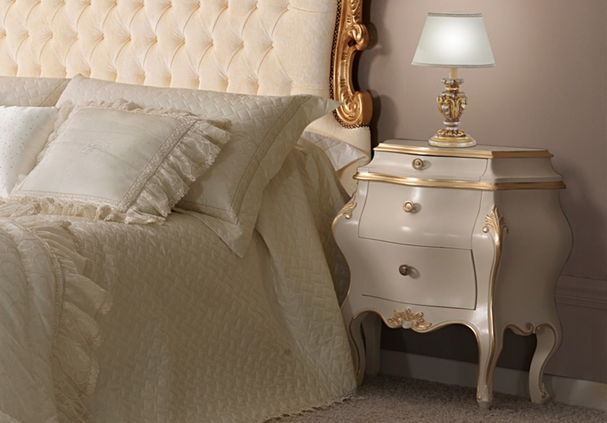 Angela lacquered bedside table, Luxury lacquered bedside table, Baroque style