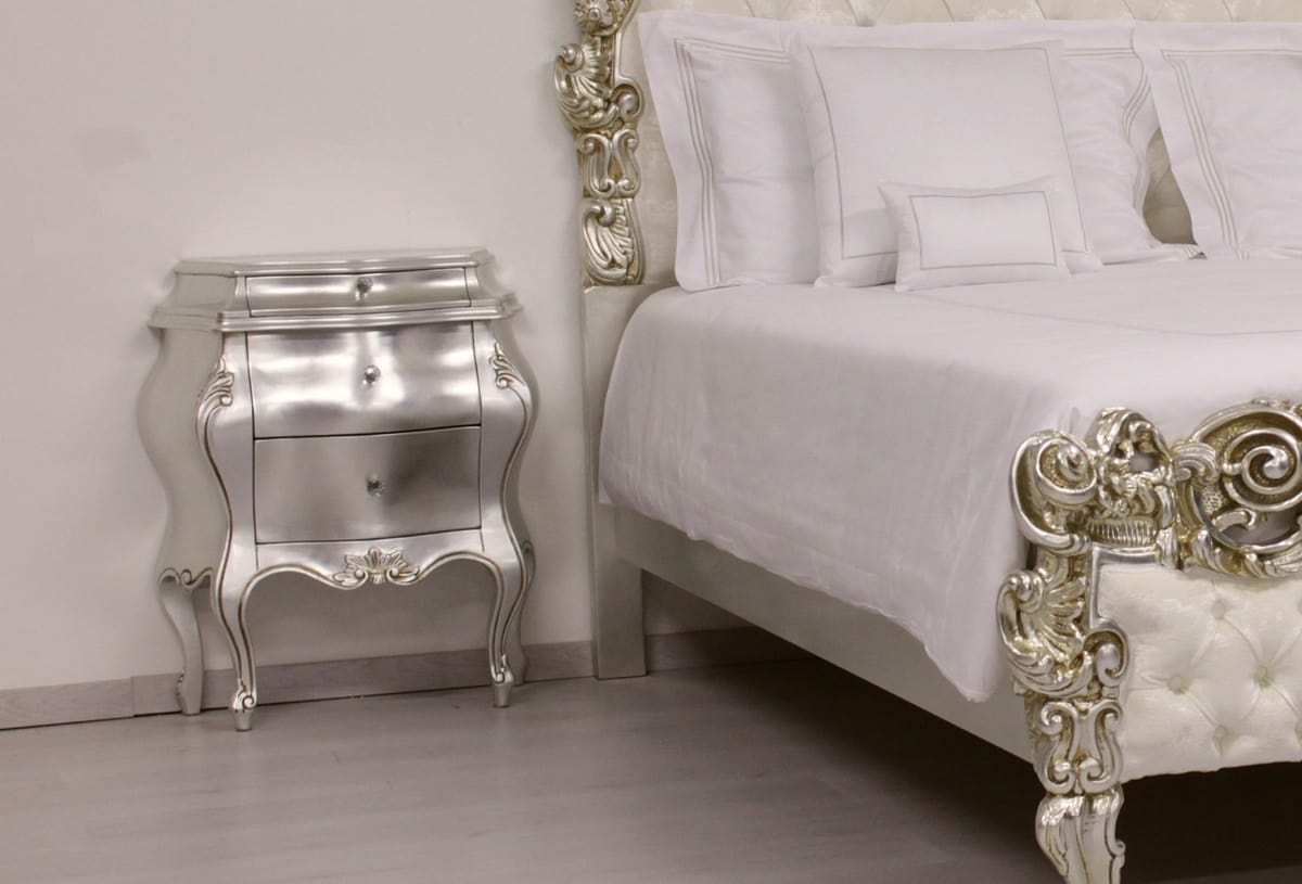 Angela nightstand, Luxury bedside table, in Baroque style