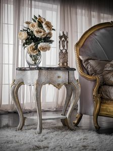 Art. 0146, Carved bedside table, classic style, with marble top