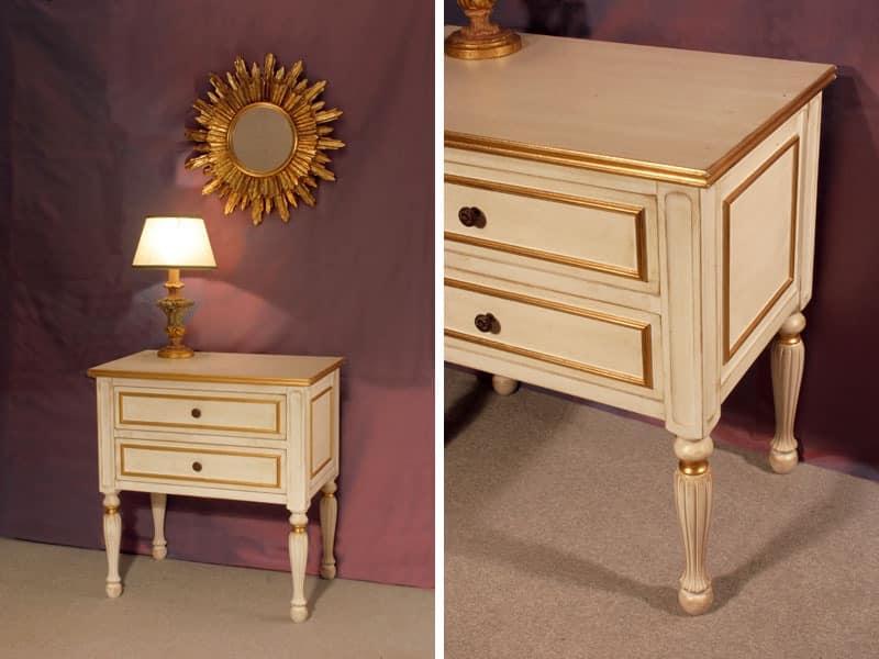 Art. 1320, Nightstand antique, gold leaf finish, for bedroom