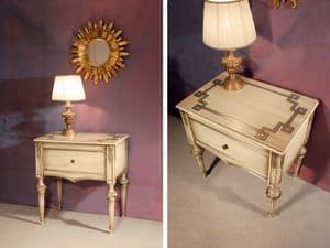Art. 1340, Wooden inlaid bedside table, for classic hotel
