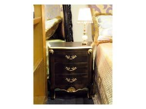 Art. 1786, Classic bedside table, 3 drawers, finished in black and gold