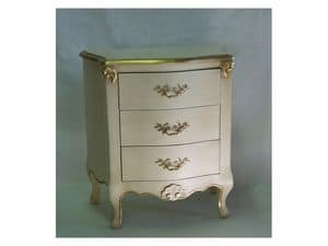Art. 1786 ivory, Wooden nightstand, finishing in ivory and gold, for hotels