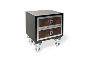 Art. 2238 Roxanne, Nightstand with leather drawers and Swarovski decorations