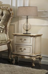 ART. 2879, Classic lacquered bedside table with antique patina