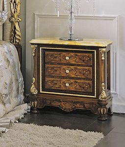 ART. 3036, Classic bedside table with yellow marble top