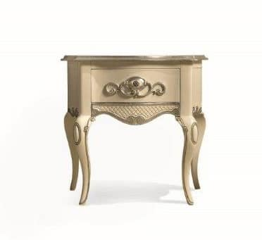 Art. 767, Classic bedside table, hand-made carved, in wood
