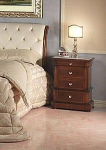 Art. 952/2 bedside, Bedside table carved, Carrara marble top, for bedroom