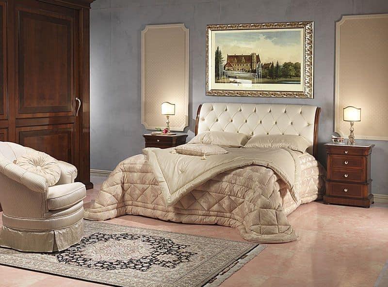 Art. 952/2 bedside, Bedside table carved, Carrara marble top, for bedroom