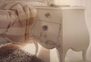 Art. TV1113, Bedside lacquered pearl white with embossed decorations