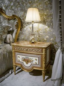 Bedside table 3704 Louis XVI Style, Luxury classic bedside table