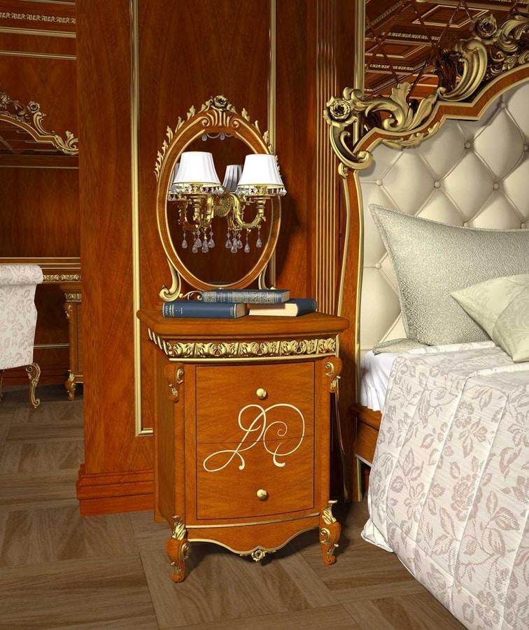 Botticelli nightstand, Bedside table in walnut, gold details