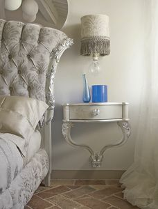Carpi nightstand, Wall bedside table with handcrafted decorations