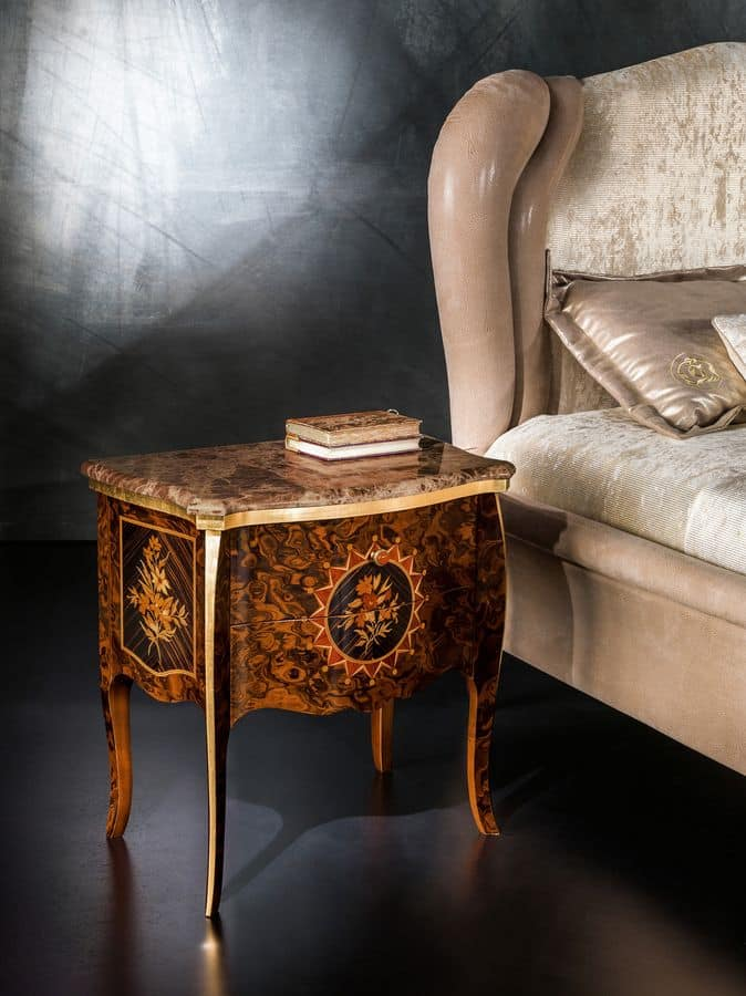 CD27 Metamorfosi nightstand, Bedside table with marble top ideal for bedrooms