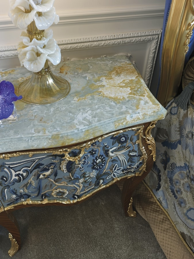 Bedside table 3691, Classic bedside table with onyx top