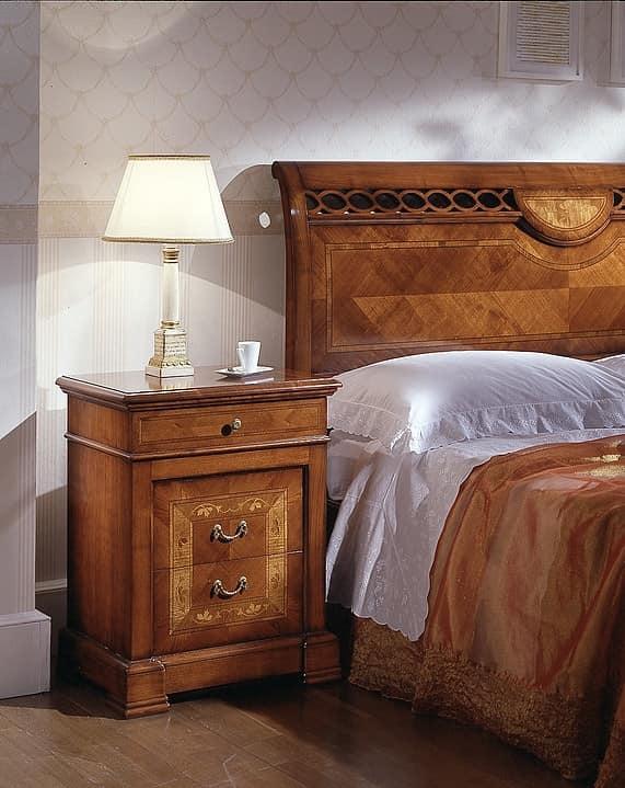 D 701, Carved nightstand, in cherry, elm with veneered