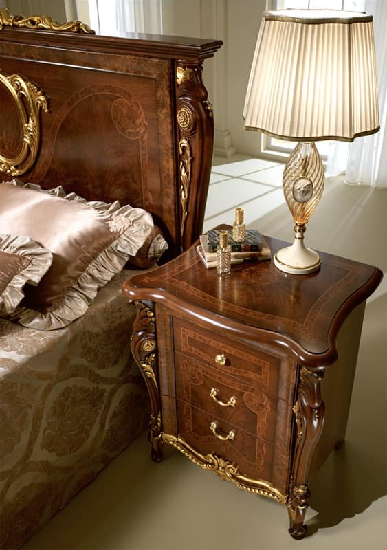 Donatello nightstand, Luxury classic bedside table, in carved wood, for bedroom