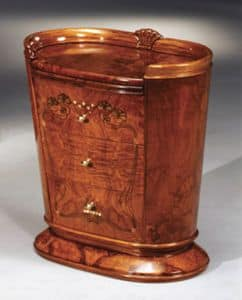Flory bedside table, Bedside table with removable top, gold leaf decorations