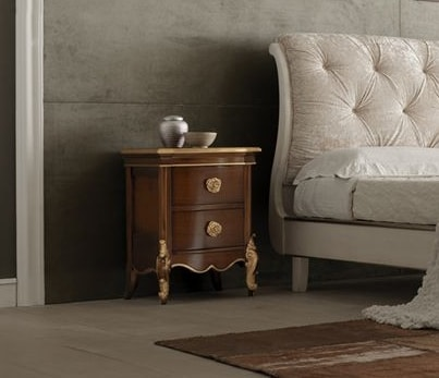 Liò walnut nightstand, Wooden bedside table, with gold details