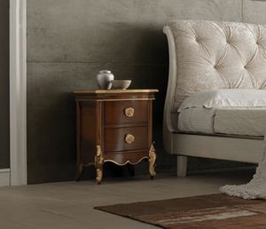 Li� walnut nightstand, Wooden bedside table, with gold details