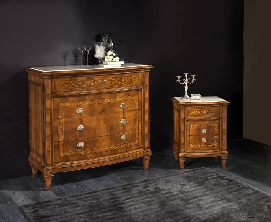 M 711, Bedside table with top encased in marble Botticino