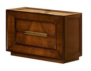 Metropolitan CH.0601, Night table with 2 drawers, walnut and ash wood