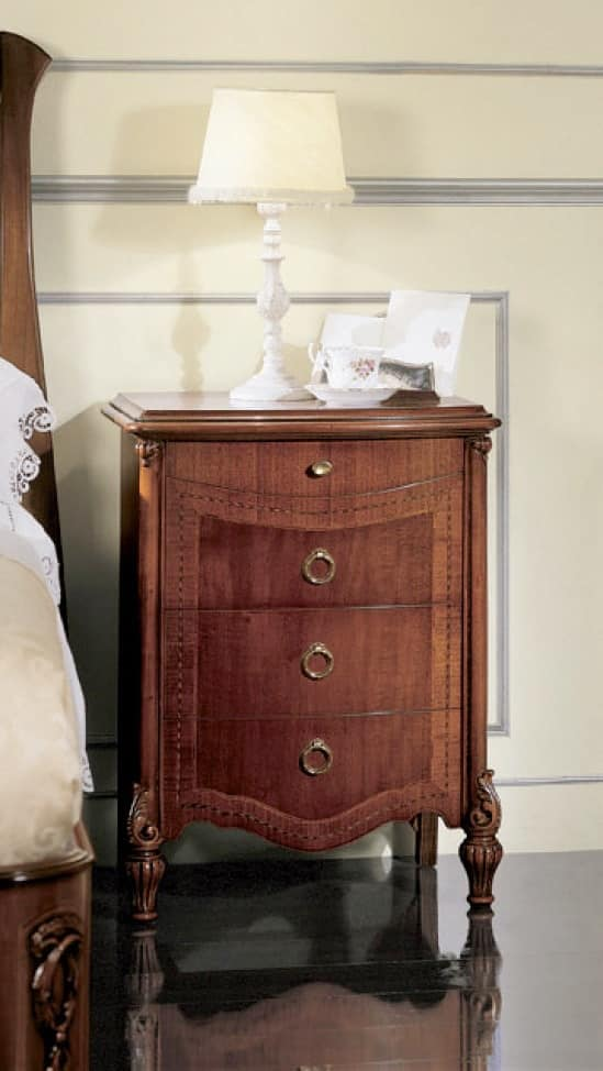 Mimosa bedside table, Bedside table with wood top and curved front