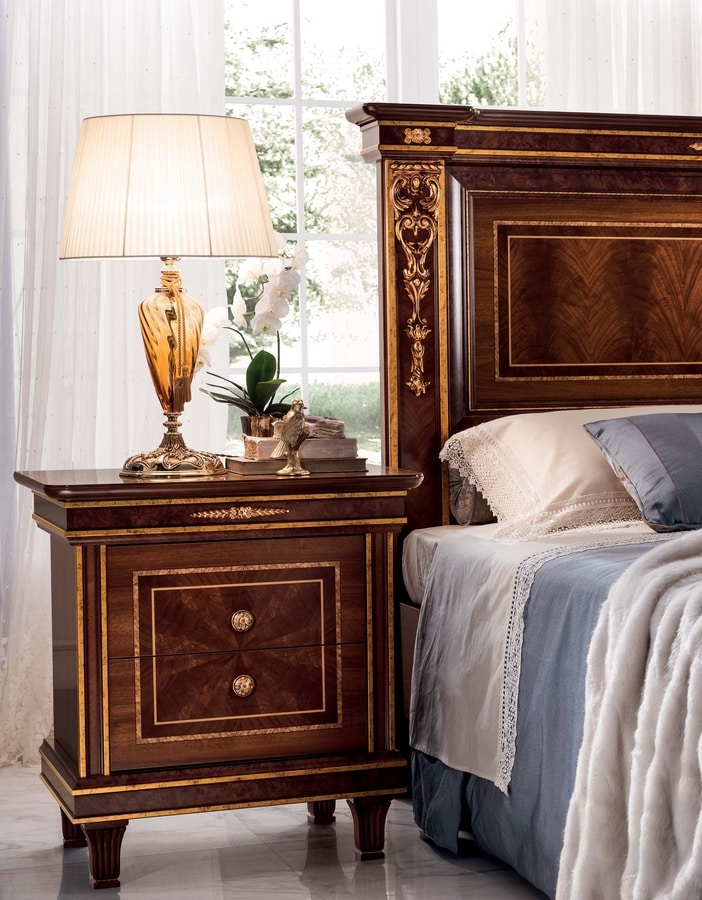 Modigliani nightstand, Empire style wooden bedside table
