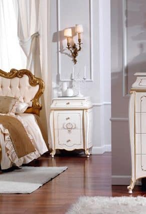 OLIMPIA B / Ivory lacquered nightstand, Bedside table made of solid wood, luxury finishes