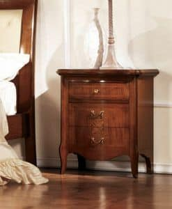 Olympia bedside table, Bedside table with curved front, inlaid walnut