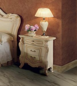 Opera bedside table, Bedside table with handcrafted decorations