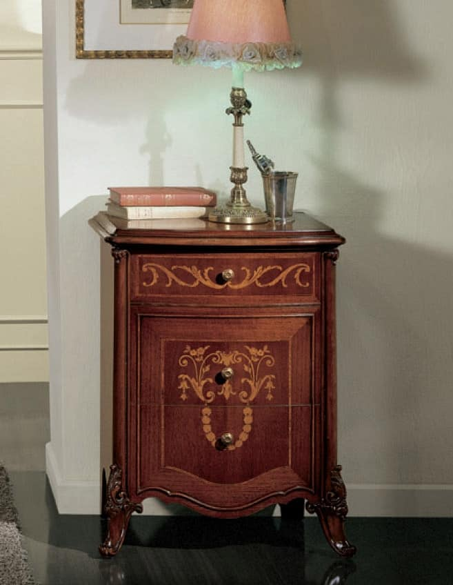 Orchidea comodino, Nightstand with curved front, with carvings and inlays