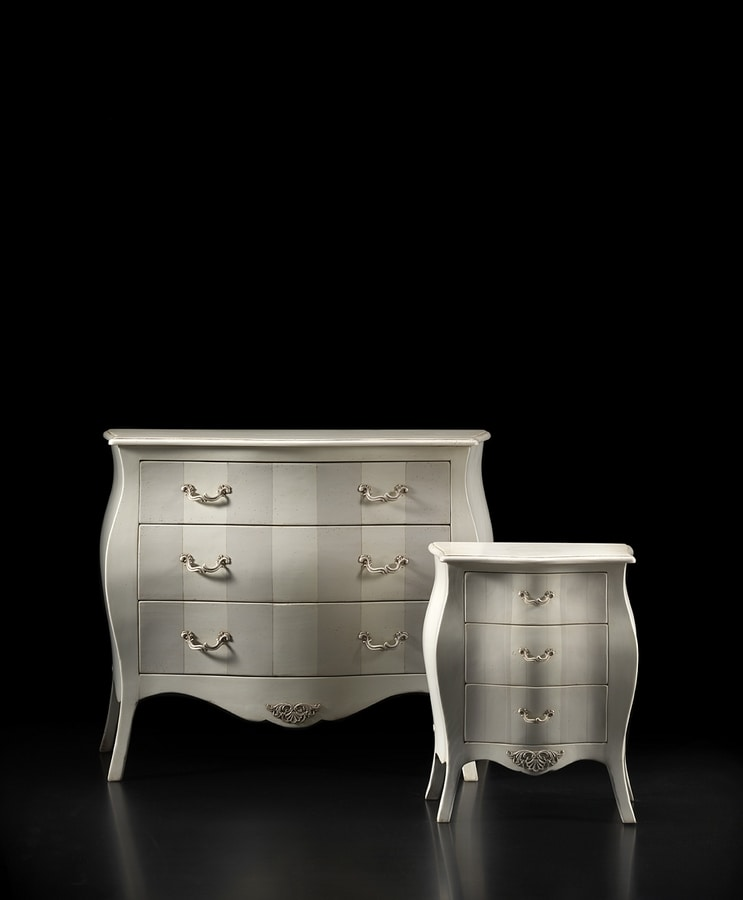 Orlando FA.0056, Curved bedside with 3 drawers, in classic style