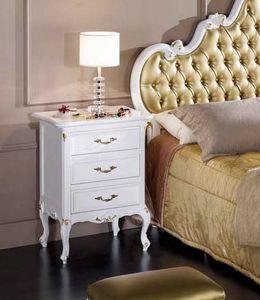 Perla bedside table, Elegant white lacquered bedside table