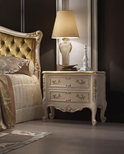 R45 / nightstand, Classic style nightstand, with carvings, white lacquered
