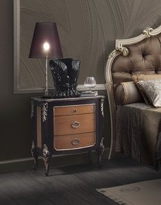 R89 / nightstand, Three-drawer bedside table, handcrafted decorations